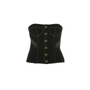Topstitch Crepe Bustier Crop Top - Clothing