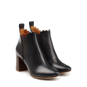 Leather Ankle Boots with Scalloped Trim - Chloé | WOMEN | US STYLEBOP.COM