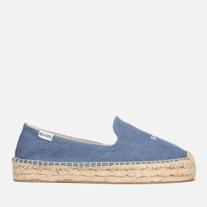 Soludos Women's Sorry Platform Smoking Slipper Espadrilles - Medium Denim - FREE UK Delivery