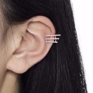 Rose Gold Diamante Triple Bar Ear Cuff