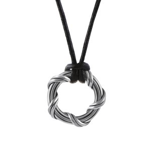 Peter Thomas Roth Ribbon and Reed Explorer Circle Necklace in ruthenium silver and leather 1