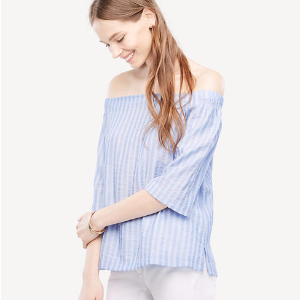 Stripe Off The Shoulder Top | Ann Taylor