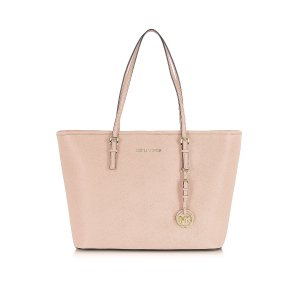 Michael Kors Jet Set Travel Soft Pink Saffiano Leather Top Zip Tote at FORZIERI