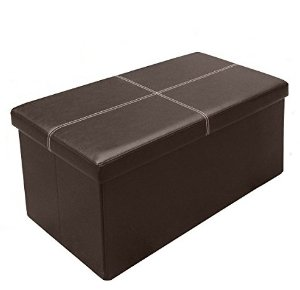 Otto & Ben 30 inch Line Design Memory foam Seat Folding Storage Ottoman Bench with Faux Leather, Brown
