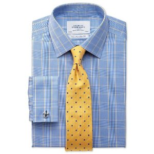 Slim fit non-iron Prince of Wales blue and gold shirt | Charles Tyrwhitt