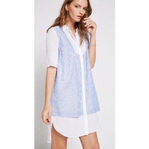 Striped Double-Layered Shirt Dress