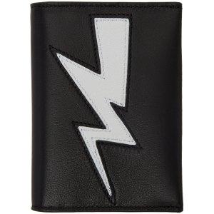 Neil Barrett: Black Thunderbolt Bifold Card Holder