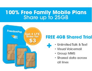 Only pay $3!Get 4 LTE GSM Sim Cards + Unlimited talk, text, and Shared 4GB