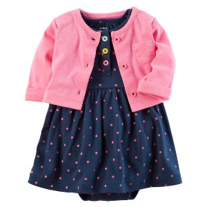 Baby Girl 2-Piece Bodysuit Dress & Neon Cardigan Set | Carters.com