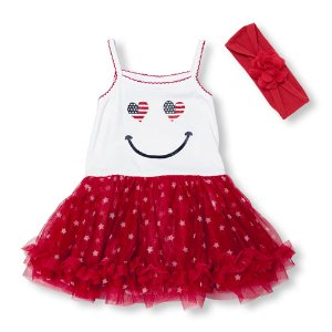 Baby Girls Sleeveless Americana Smiley Star Print Mix-Fabric Dress And Headwrap Set   The Children's Place