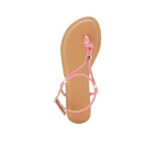 Gold-Trim T-Strap Sandals