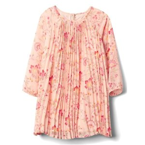 Floral long sleeve pleat dress