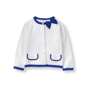 Baby Girl White Tipped Cardigan at JanieandJack