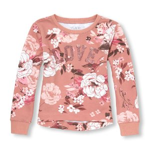Girls Active Long Sleeve Floral Print Glitter Statement Hi-Low Pullover   The Children's Place