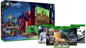 立减$50再送2款游戏黒五价:Xbox One S 1TB 我的世界限定版套装