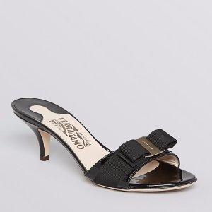 Salvatore Ferragamo Glory Open Toe Slide Kitten Heel Sandals | Bloomingdale's