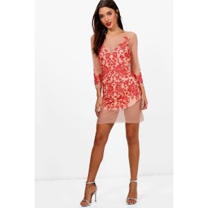 Boutique Lois Embroidered Mesh Bodycon Dress | Boohoo