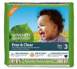 $19.85Seventh Generation Baby Diapers, Free and Clear for Sensitive Skin, Original No Designs, Size 3 155ct (Packaging May Vary)