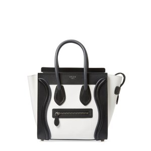 Luggage Micro Bicolor Leather Tote by Céline at Gilt