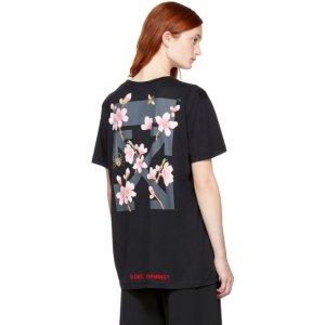 Off-White - Black Cherry Flower T-Shirt