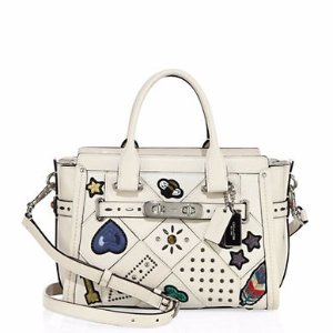 Studded Patchwork Leather Satchel