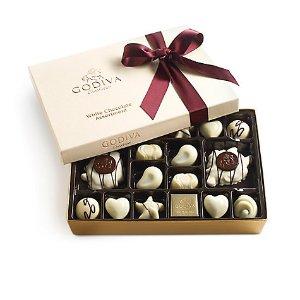 White Chocolate Gift Box, Wine Ribbon, 24 pc. | GODIVA