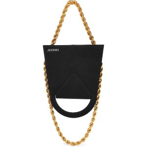 Upside Down chain-trimmed suede shoulder bag