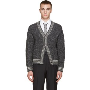 Thom Browne: Grey Cable Knit Cardigan | SSENSE