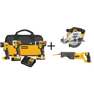 $379DEWALT 20V Li-Ion Brushless Compact Cordless Combo Kit (3-Tool) + Circular Saw + Reciprocating Saw