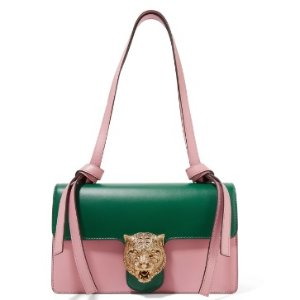 GUCCI Embellished two-tone leather shoulder bag @ THE OUTNET