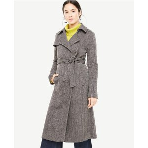 Long Twill Trench Coat | Ann Taylor