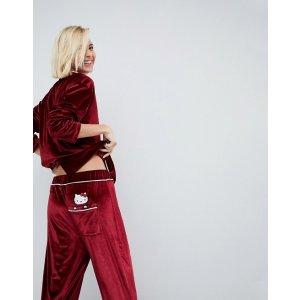 Hello Kitty X ASOS Velvet Pajama Set With Peeping Motif at asos.com