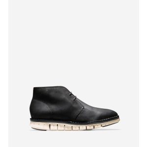 ZEROGRAND Stitch Out Chukkas in Black Waxy | Cole Haan