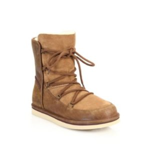 Lodge Shearling-Lined Leather & Suede Lace-Up Boots