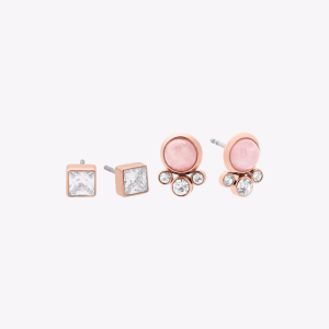 Rose Gold-Tone Mix-And-Match Stud Earrings