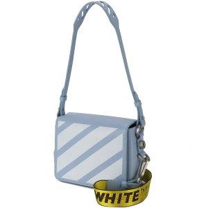 $1003+包邮包税 收超美天蓝色Off-White条纹单肩包