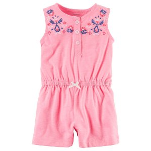 Baby Girl Neon Floral Embroidered Romper | Carters.com