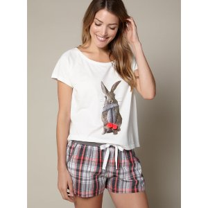 Bunny Tee And Shorts Set - Ivory Mix | Boux Avenue