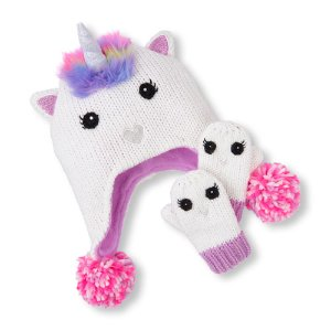Toddler Girls Sparkle Unicorn Hat And Mittens Set | The Children's Place