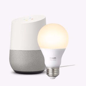 Google Home and Philips Hue White Starter Kit Package