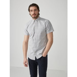 The Odessa Windowpane Chambray Shirt in Grey