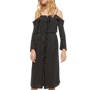 Topshop Pinstripe Midi Shirtdress