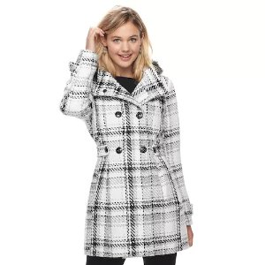 Juniors' IZ Byer Double Breasted Hooded Coat
