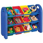 ECR4Kids 3-Tier Storage Organizer, Blue with 12 Assorted Color Bins