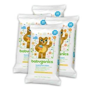 Babyganics Hand & Face Wipes, Fragrance Free, 30 Ct, 4 Pack | Jet.com