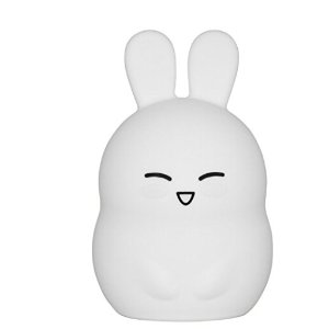 Cute Bunny Nursery Night Light, iWheat Soft Silicone Tap & Remote Control Night Light, LED Multicolor Night Light Portable USB Rechargeable Best for Baby Kids Children