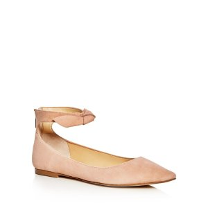 IVANKA TRUMP Tramory Suede Ankle Strap Pointed Toe Flats | Bloomingdale's