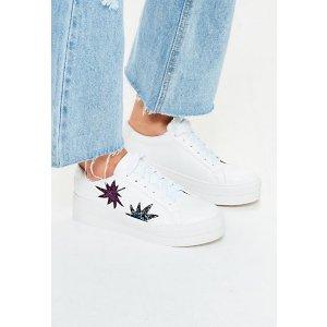 White Leaf Glittery Sneakers