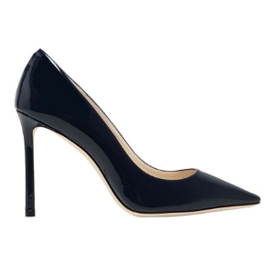 JIMMY CHOO - 100MM ROMY PATENT LEATHER PUMPS - PUMPS - NAVY