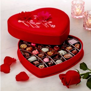 Satin Embroidered Heart Chocolate Gift Box, 37 pc.